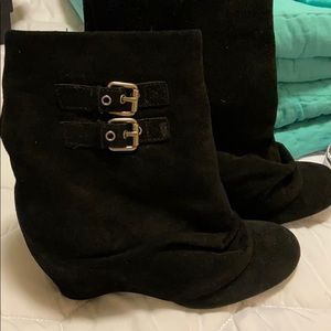 Suede calf booties with buckles